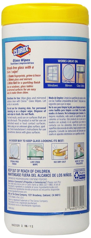 Clorox vidrio toallitas, radiante aroma limpio, 32 Count 44600310947, 32 Ct, 1: Amazon.es: Salud y cuidado personal