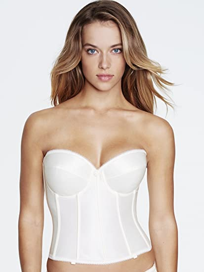 Dominique Low Cut Backless Longline Bra - 7750 Satin basque corset bridal  underwear Ivory   White 87b145254