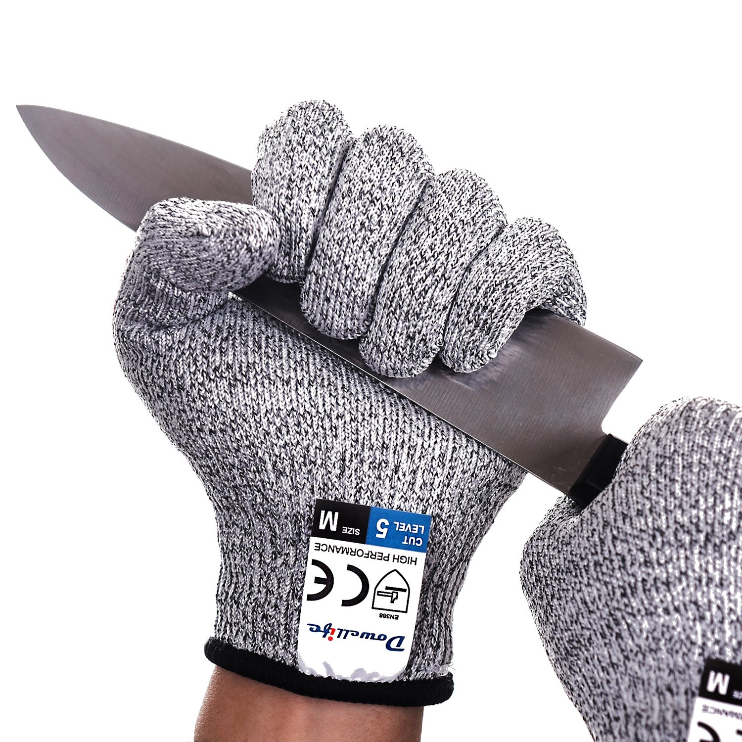 Dowellife Cut Resistant Gloves Food Grade Level 5 Protection, Safety Kitchen Cuts Gloves for Oyster Shucking, Fish Fillet Processing, Mandolin Slicing, Meat Cutting and Wood Carving. 1