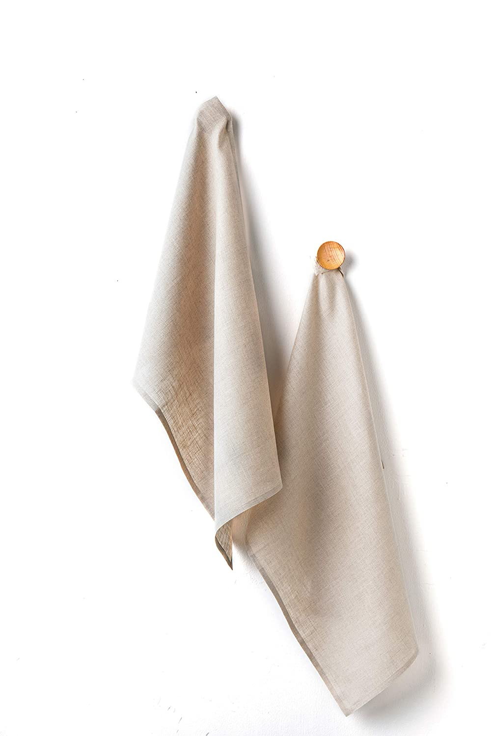 Solino Home Linen Kitchen Towel - 100% Pure Linen 17 x 26 Inch Set of 2 - Natural Fabric Handcrafted, Natural