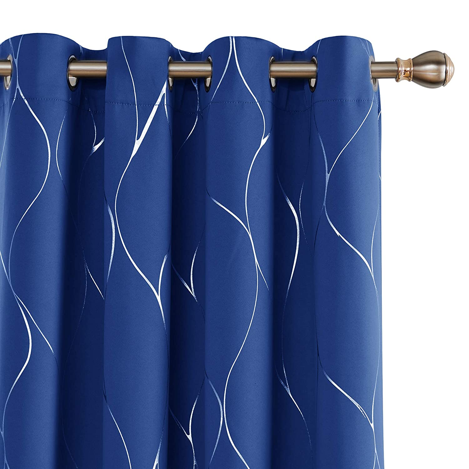 Deconovo Silver Wave Foil Print Blackout Curtains Grommet Room Darkening Curtain Noise Reducing Window Draperies for Living Room 52W x 84L Inch Set of 2 Panels Royal Blue