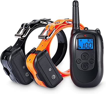 Dog Training Electric Shock Collar 330 Yards Remote Rechargeable Rainproof Beep