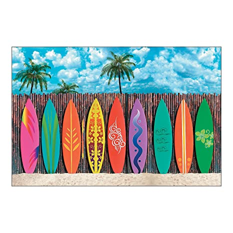 Surfs Up Surfboard Beach Backdrop Banner 9FTx6FT (3pc)