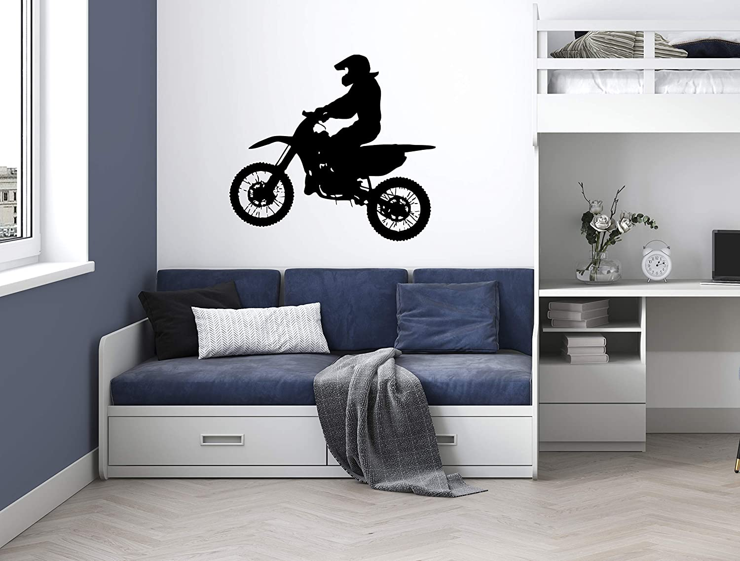 Moto wall sticker 3d For Kids Room Bed Extreme sport decal