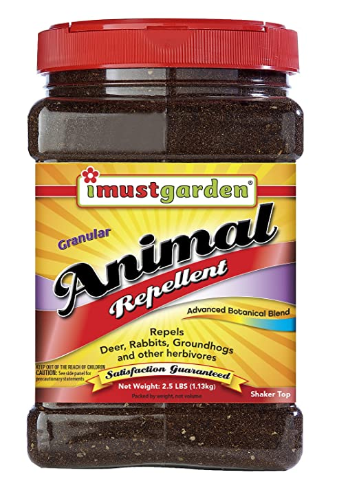 I Must Garden Granular Animal Repellent: Repels Deer, Rabbits, and Groundhogs – 2.5lb Shaker Jar