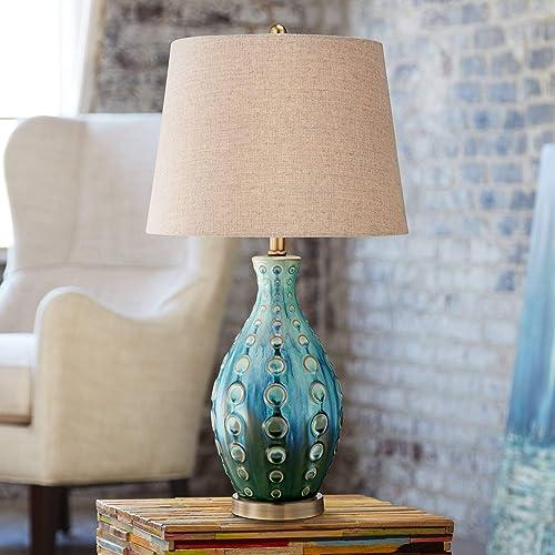 Mid Century Modern Table Lamp Vase Teal Handmade Tan Linen Tapered Drum Shade