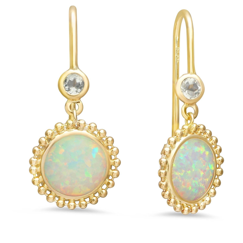 14K Yellow Gold Baguette Blue Topaz Dangle Post Earrings