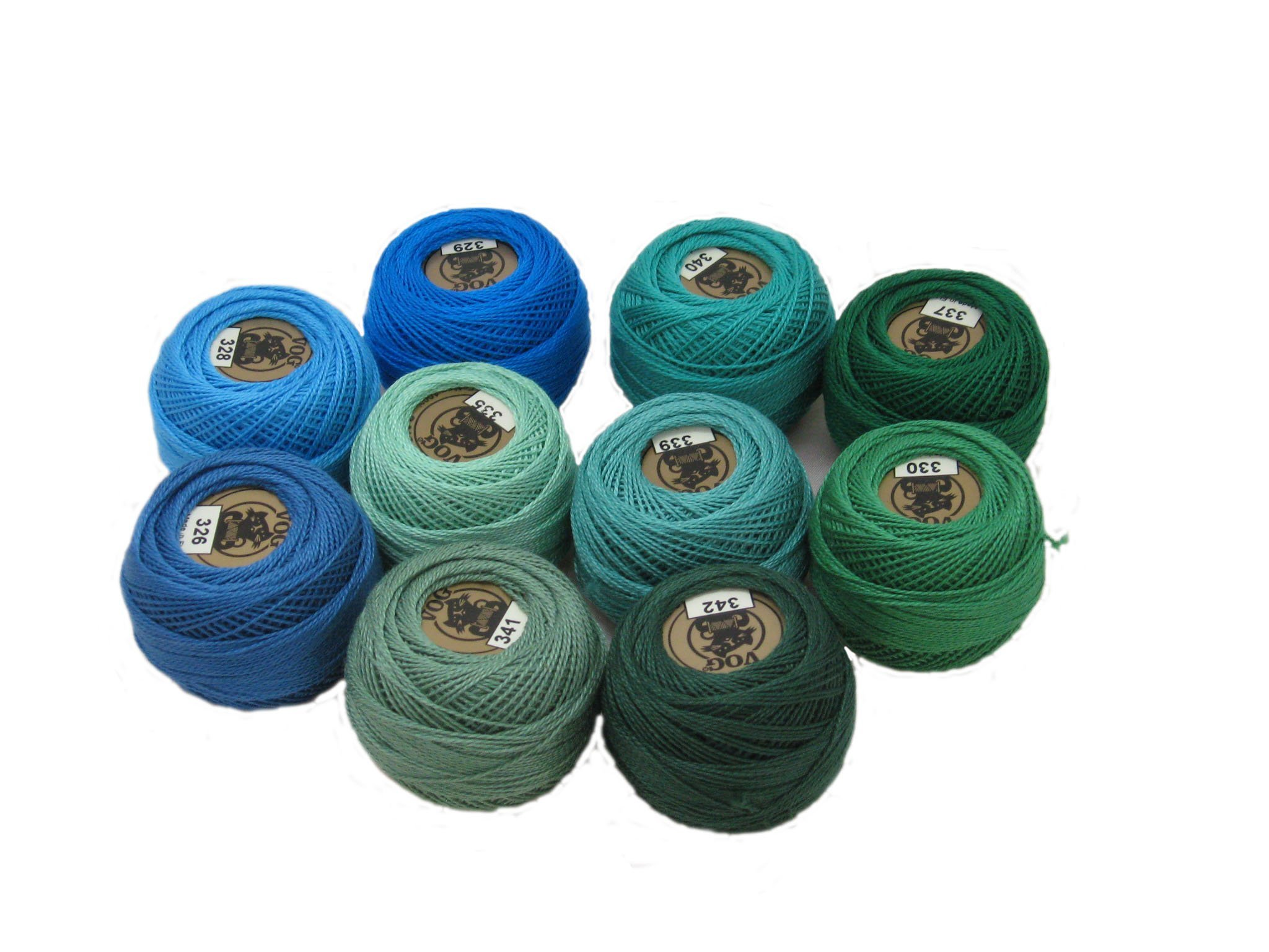 Vog Perle Cotton Size 8 Embroidery Threads - Set of 10 Balls (10gr Each) - Blue and Green Shades (column No. 5) by Vog