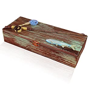 Tumbler Home Wooden, Nautical, Fishing Box for Coins, Keys or The Man Cave Birthday Gift for Dad!