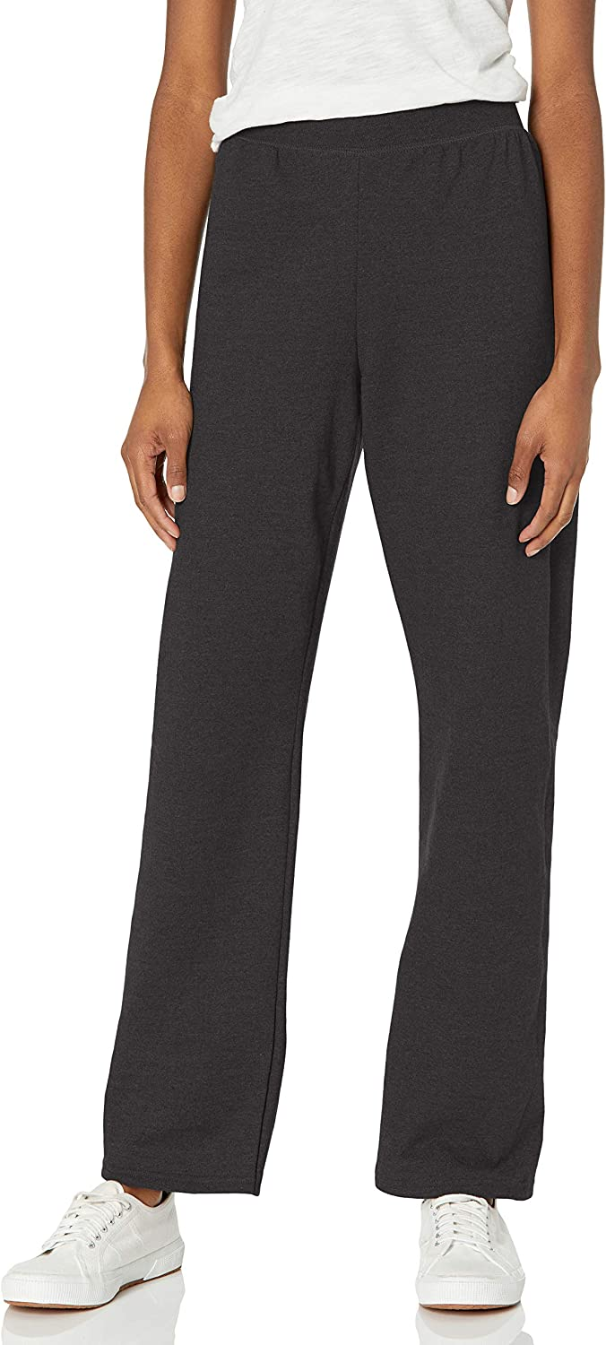 Hanes Women's EcoSmart Petite Open Bottom Leg Sweatpants