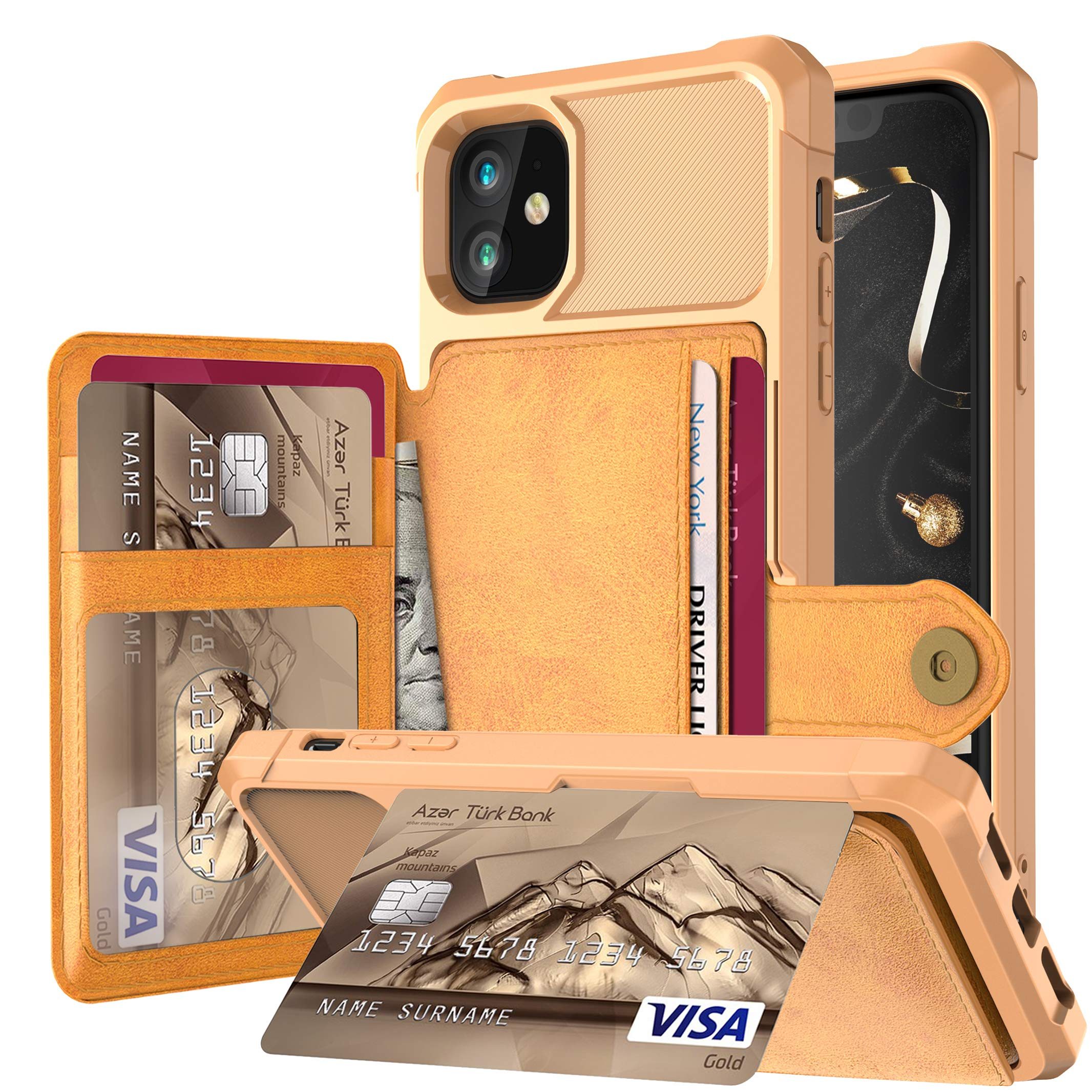 iPhone 11 6.1 Inch Case, Futanwei Credit Card Kickstand Buttons Wallet Premium Leather Flip Card Slots [Fit Magnetic Car Mount] Rubber Defender Phone Case for iPhone 11 2019, Gold by Futanwei