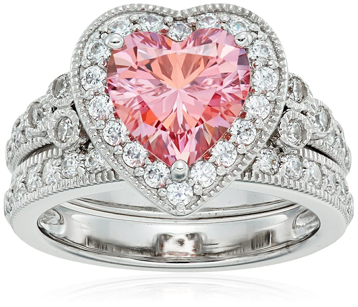 Platinum-Plated Sterling Silver Swarovski Zirconia Fancy Pink Heart Antique Ring, Size 5 Amazon Collection R3229202_120_Pink5