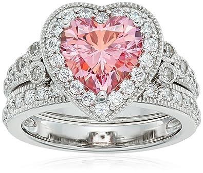 e311a52fd Amazon.com: Platinum-Plated Sterling Silver Swarovski Zirconia Heart-Shape  Antique Ring Set: Jewelry