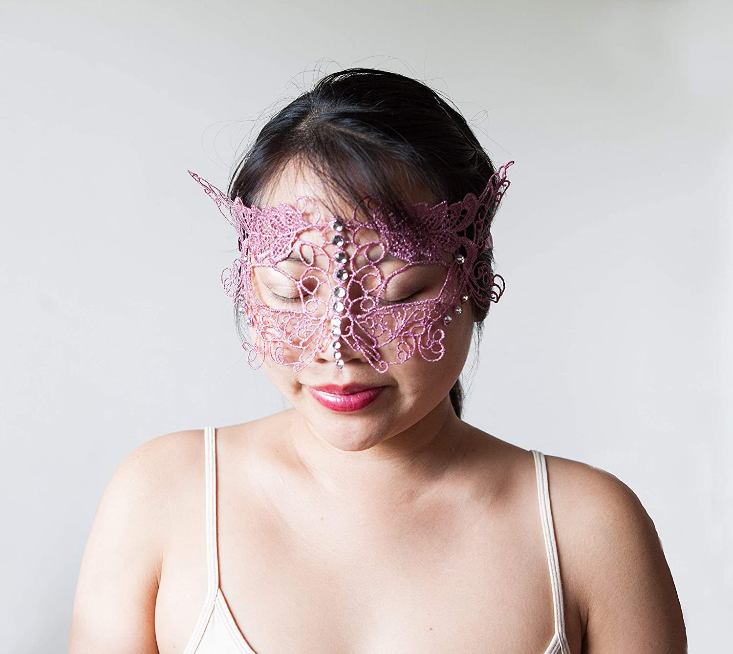 Mardi gras. Hot Pink Venetian Lace Masquerade Mask for Women Soft and Flexible Lace Costume Ball Rhinestones