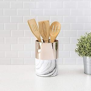 Home Basics Athena Marble Multi-Purpose Cylindrical Utensil Crock (1, Gold)