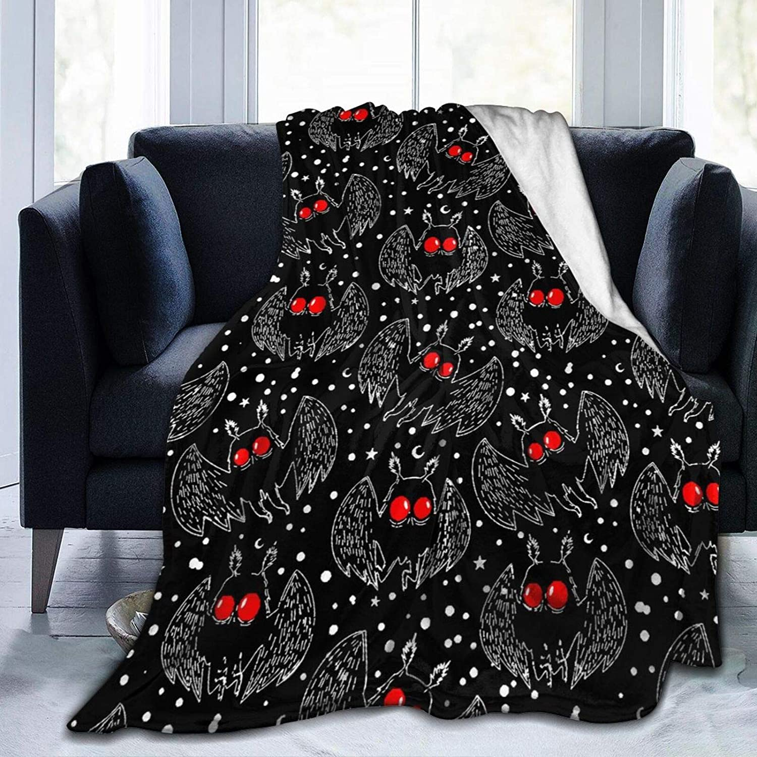 """Kuozuln Needlove Mothman Night Throw Blanket Suitable Ultra Soft Weighted Bedding Fleece Blanket for Sofa Bed Office 60""""x50"""" Travel Multi-Size for Adult"""