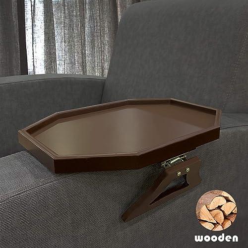 Wooden Sofa Armrest Clip-On Table, Recliner Armchair Organizer Tray Cherry