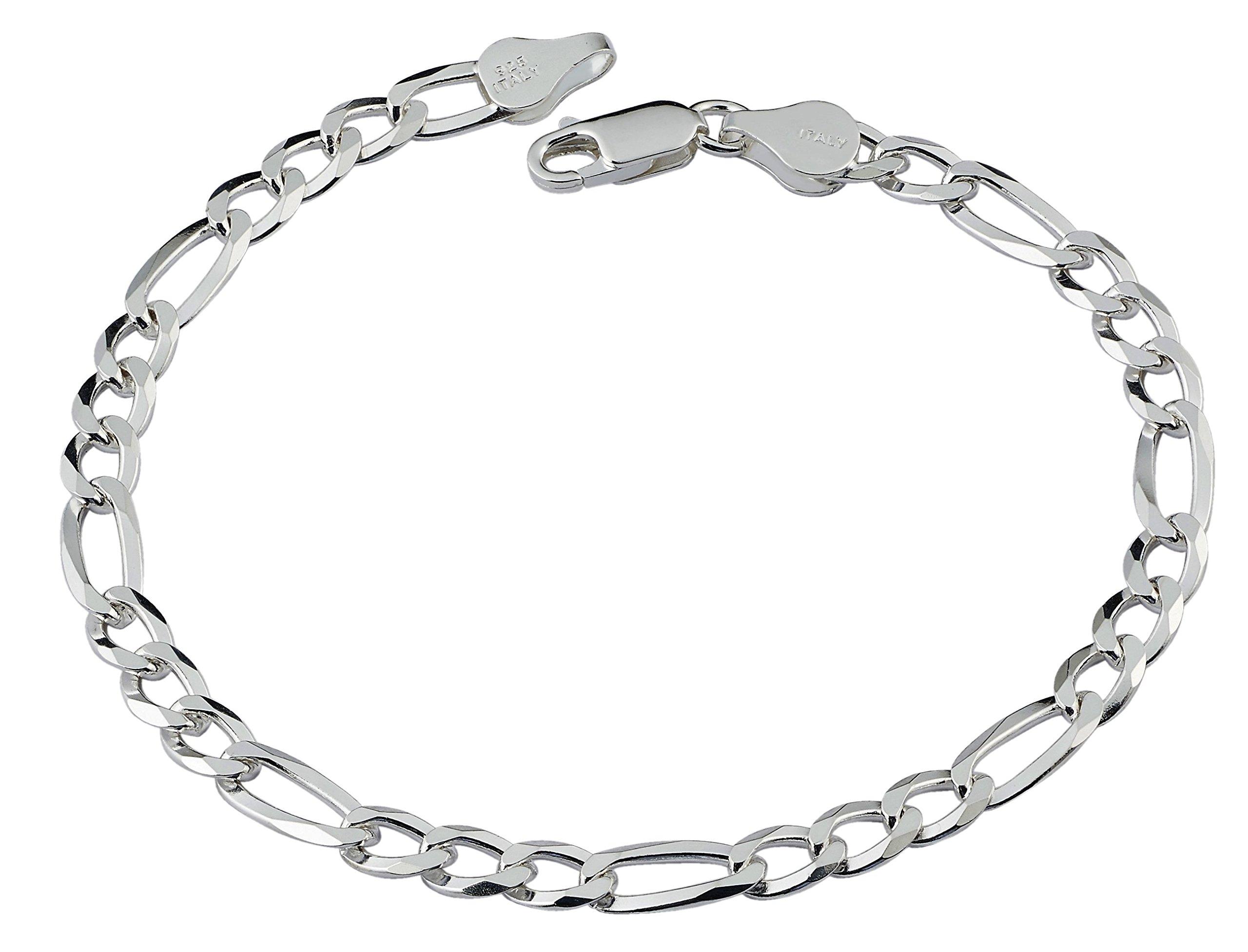 D Jewelry 925 Sterling Silver Solid Flat Figaro Chain Bracelet Gauge 150 (7)