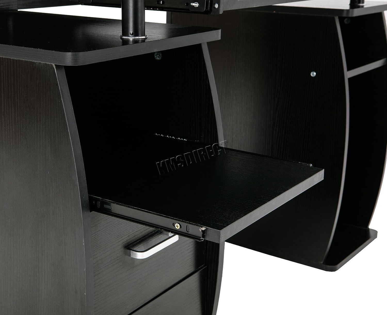 Foxhunter scrivania per computer PC da tavolo con ripiani cassetti portaoggetti casa mobili per ufficio studio Gaming desktop workstation Morden grande CD05/nero