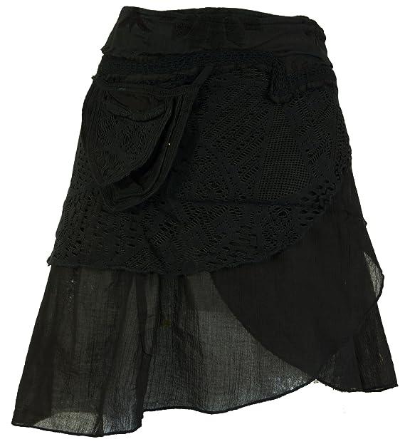 c3856a316 GURU-SHOP, Extravagante Falda Envolvente con Bordado y Pequeño Bolsillo  Lateral, Negro, Algodón, Tamaño:40, Faldas Cortas: Amazon.es: Ropa y  accesorios