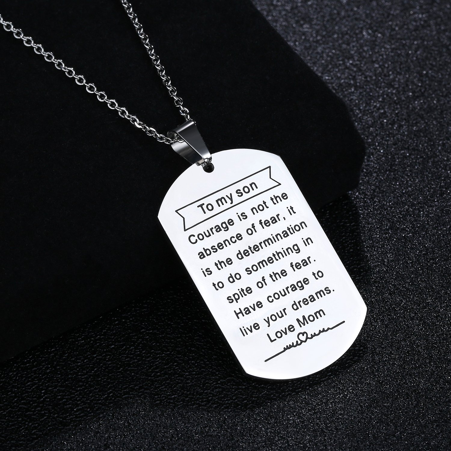 Jureeone Inspirational Stainless Steel Pendant Necklace Letter Tag Gifts for Family Friends Unisex Always Remember You are Braver Stronger Smarter Than You Think