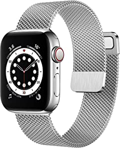OUHENG Compatible with Apple Watch Bands 40mm 38mm 44mm 42mm, Magnetic Stainless Steel Mesh Loop Metal Band Strap for iWatch Series 6/5/4/3/2/1 SE (Silver, 40mm 38mm)