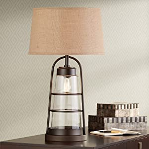 Industrial Table Lamp with Nightlight Bronze Cage Glass Lantern Brown Burlap Shade for Living Room Family