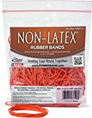 Alliance Non-Latex Rubber Bands - Size #19 (3 1/2 x 1/16 Inches) - Protect Users from Latex AllergyReactions - Bright Orange, 1/4 Pound Bag (37198)