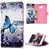 Samsung Galaxy S6 Edge Plus Case Cover - Lanveni PU Leather Wallet Flip Cover Bookstyle Cell Phone Hoslter with Printing Design & Magnetic Closure & Card Slots & Stand Function Protective Cover for Samsung Galaxy S6 Edge Plus , Blue Butterfly
