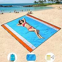 HISAYSY Strandfilt utomhus picknickfilt, extra stor 210 x 200 cm vattentät lätt ingen sandstrand matta för resor…