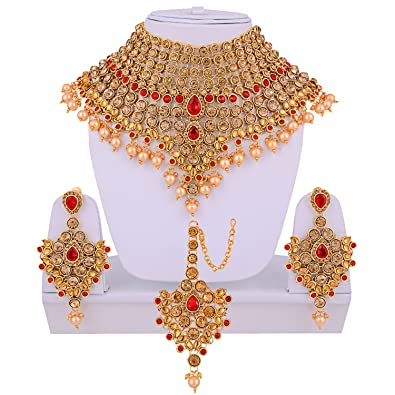 Buy lucky jewellery lct red bridal dulhan wedding engagement lucky jewellery lct red bridal dulhan wedding engagement necklace set with mang tikka best for junglespirit Images