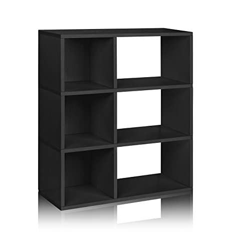 Bon Way Basics Eco 3 Shelf Sutton Bookcase And Cubby Storage, Black (made From  Sustainable