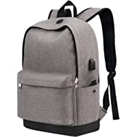 Vancropak Student Backpack, Canvas School Backpack with USB Charging Port, Fits to Laptop and Notebook Backpack, Back to School Essentials, Rucksack for Travel Camping Business Working, Grey