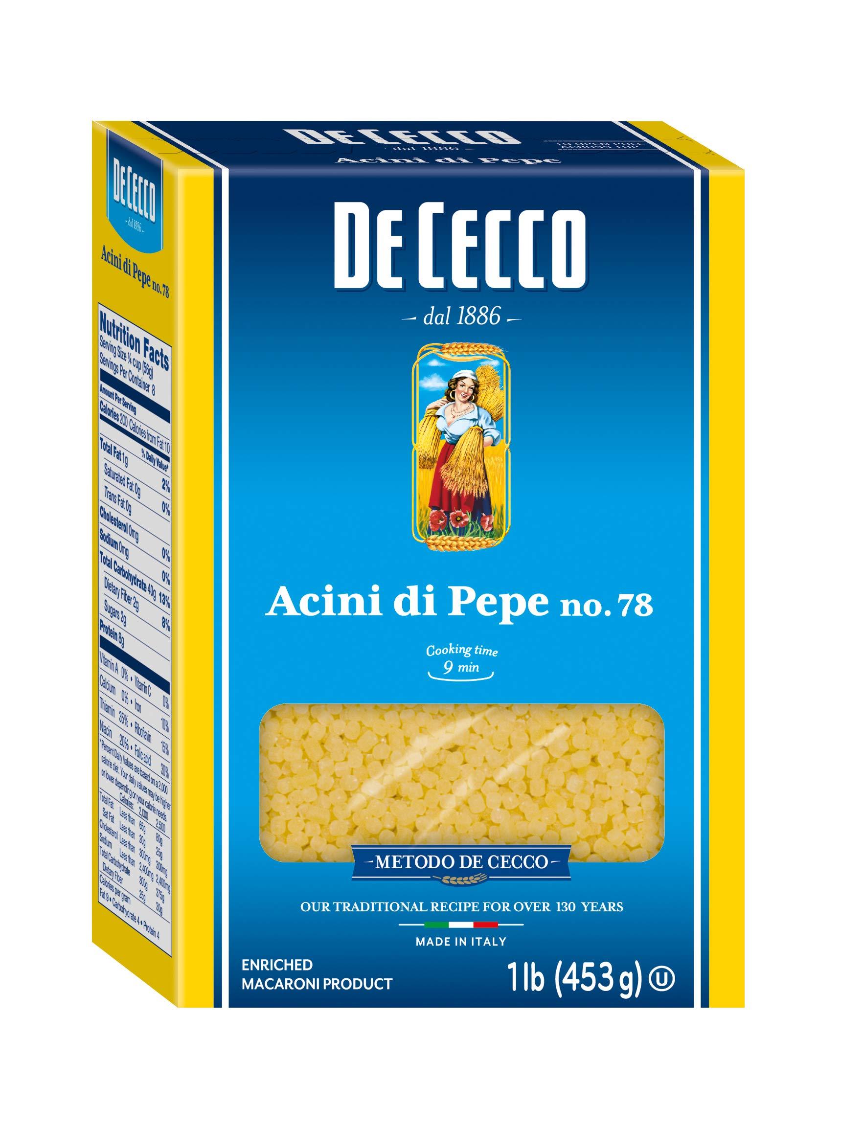 De Cecco Semolina Pasta, Acini Di Pepe No.78, 1 Pound (Pack of 5) by De Cecco