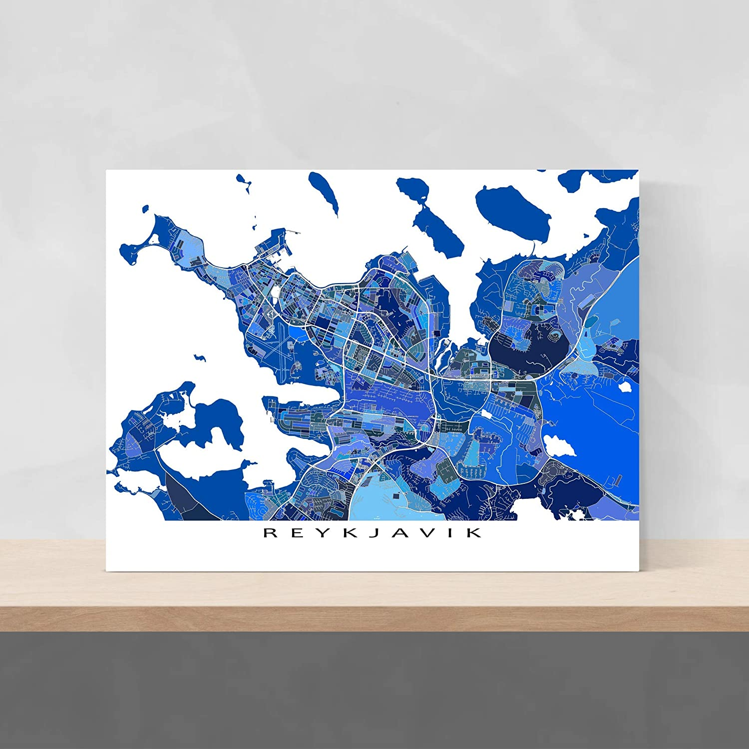 Amazon.com: Reykjavik Map Print, Iceland, Blue City Artwork Poster on map of newfoundland and prince edward island, map of newfoundland and labrador, map of newfoundland and nova scotia,