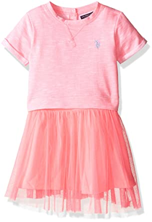 U.S. Polo Assn. Little Girls Toddler French Terry and Tulle Dress ...