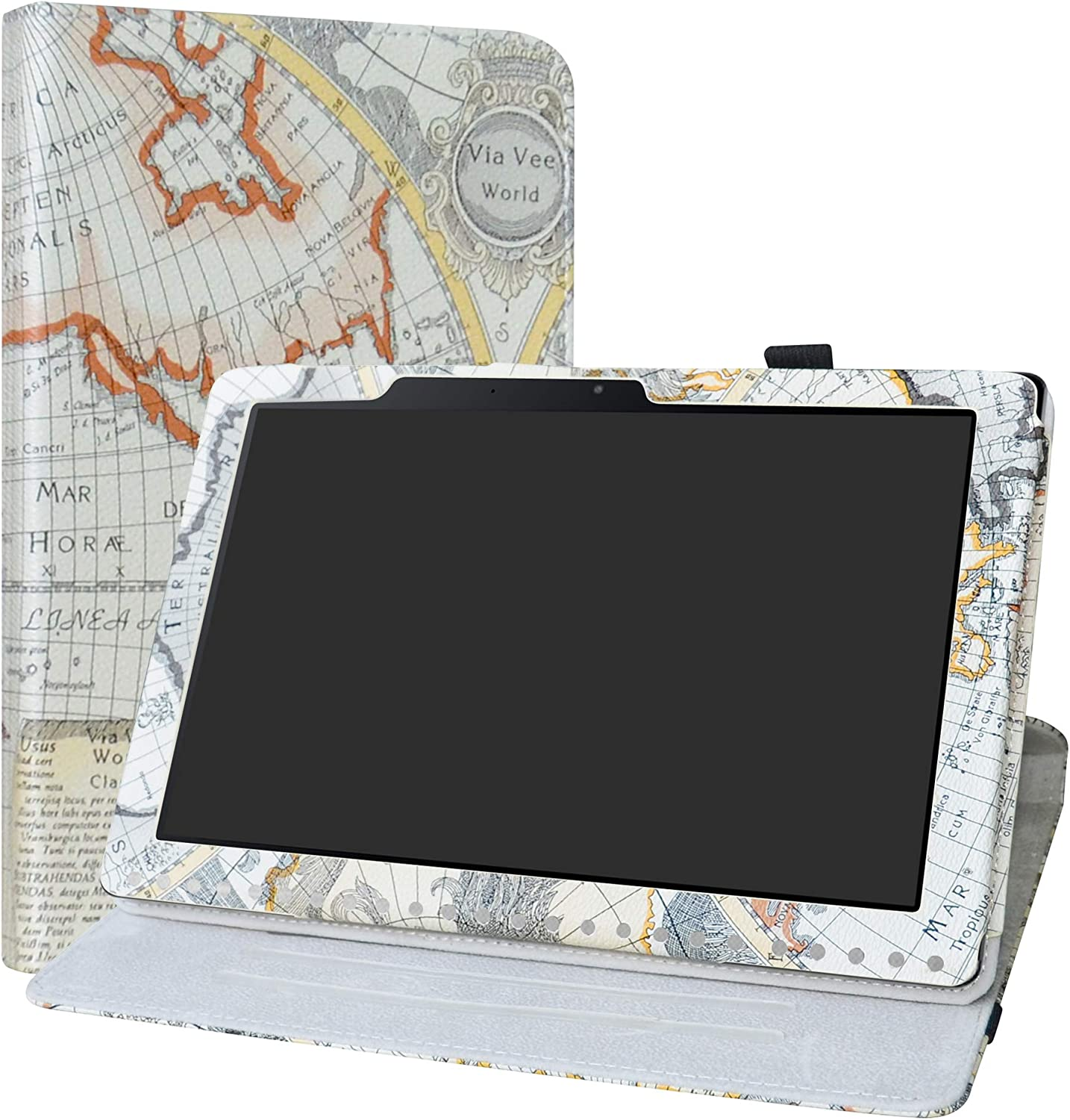 """Iconia One 10 B3-A50 Rotating Case,LiuShan 360 Degree Rotation Stand PU Leather with Cute Pattern Cover for 10.1"""" Acer Iconia One 10 B3-A50 Android Tablet,Map White"""