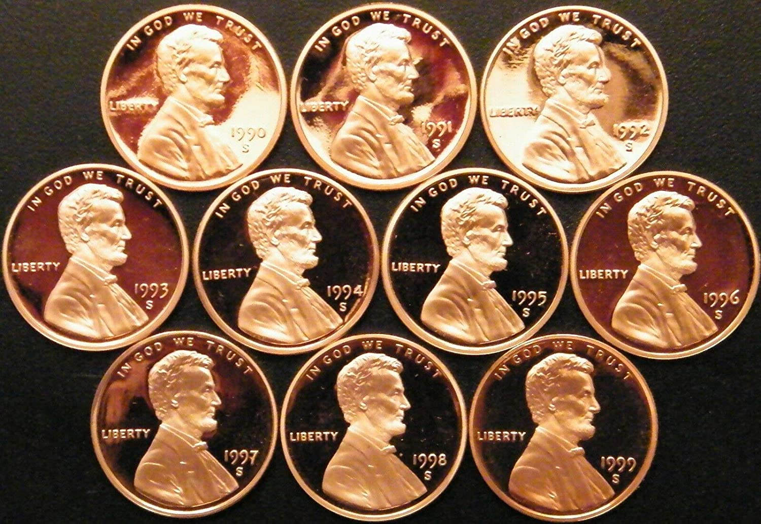 1991-1992-1993-1994-1995-1996-1997-1998-1999-2000-S TEN CAMEO PROOF LINCOLN CENT