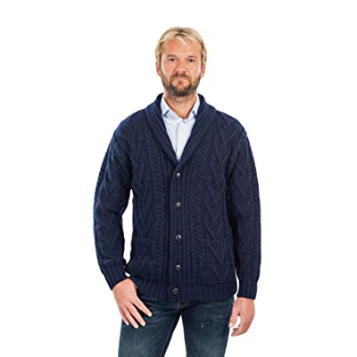 SAOL 100% Merino Wool Men's Aran Cable Knit Shawl Collar Casual Irish Cardigan with Buttons and Pockets at Men's Clothing store
