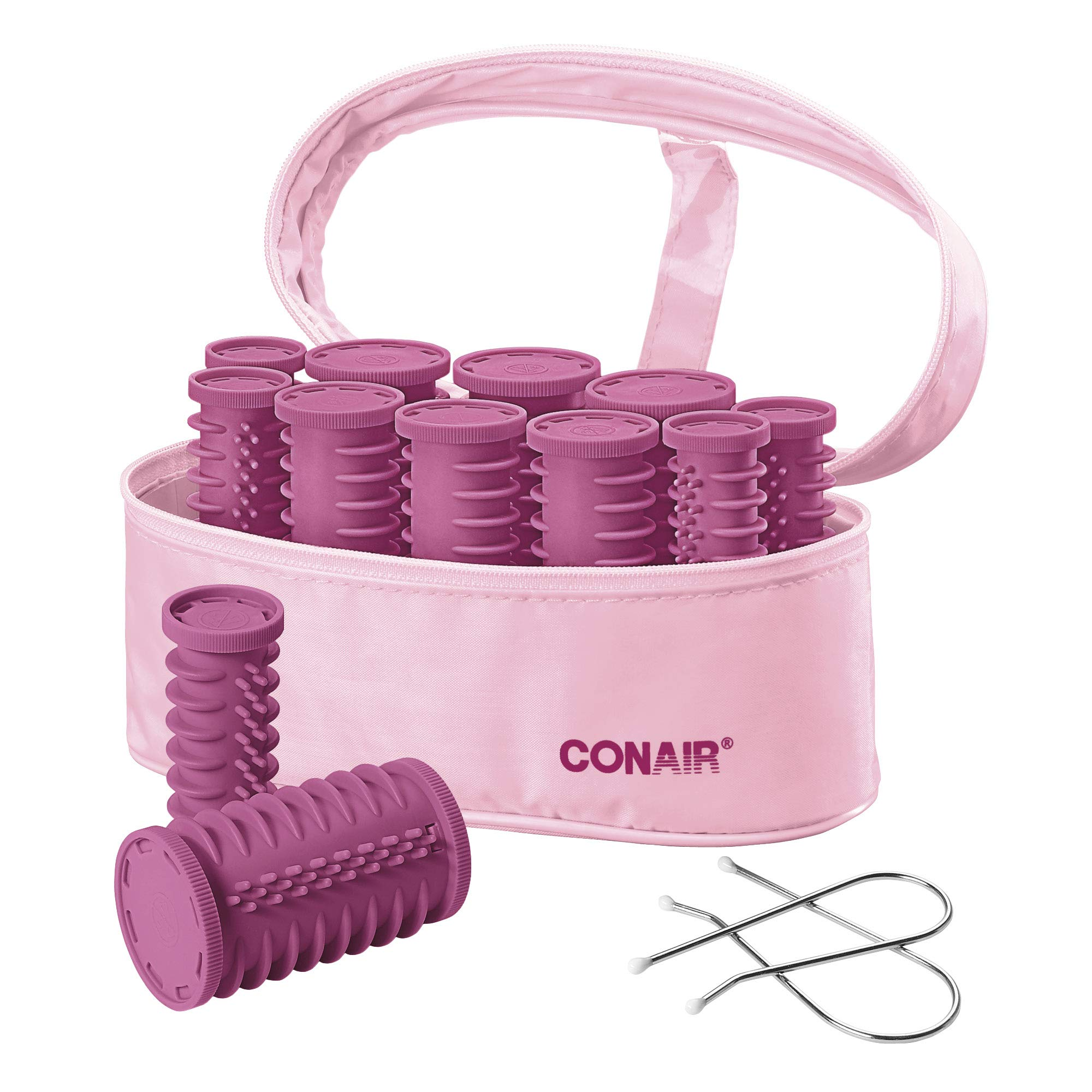 Conair Instant Heat Compact Hot Rollers, Perfect for On-The-Go Styling, Pink, 1 Count