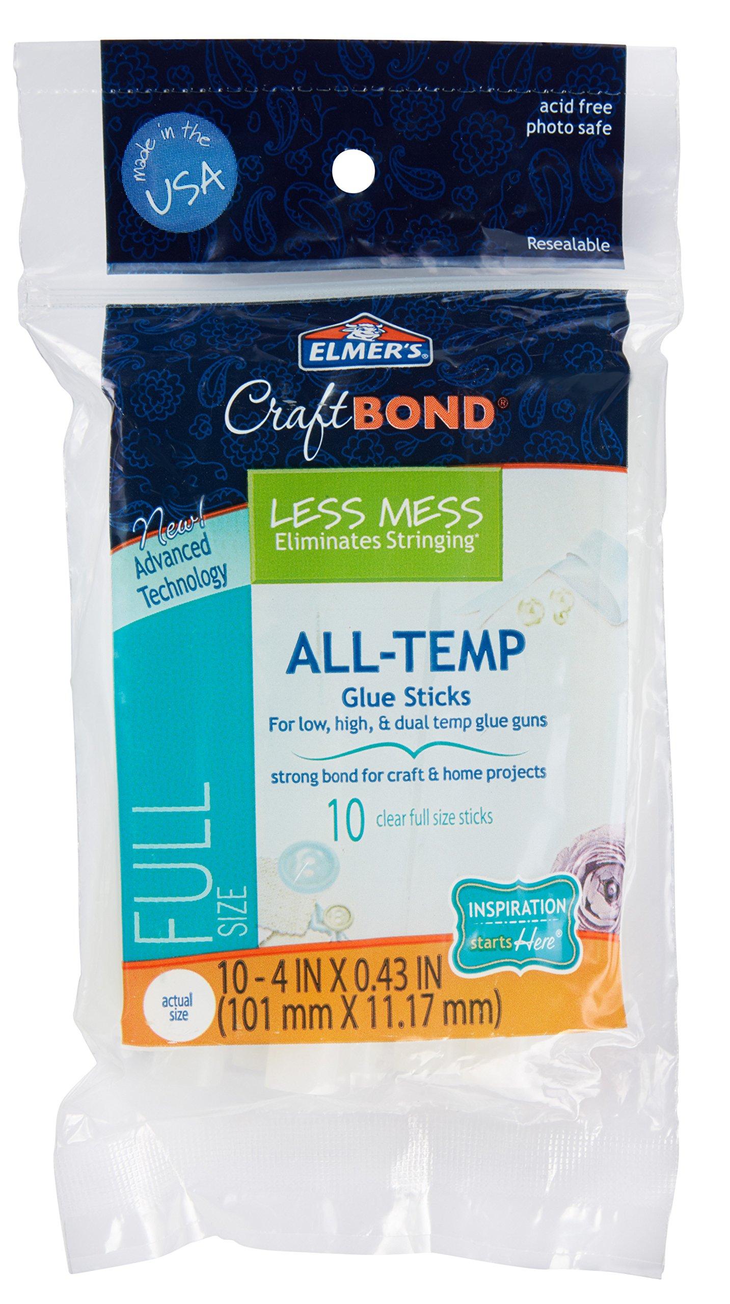 Elmer's Craft Bond Less Mess All-Temp Glue Sticks, 4''x0.43'', 10 Count (E6058)