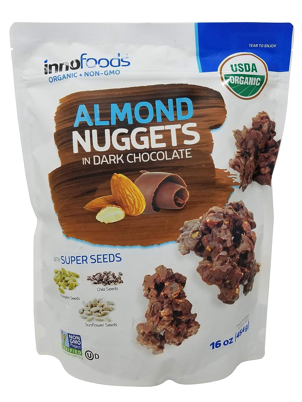 Innofoods Nuggets de almendras en chocolate oscuro, 16 onzas ...