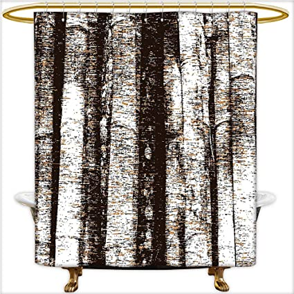 Qinyan Home Decor Shower Curtains Murky Tree Trunks Background With Messy Old Oak Woodland Style