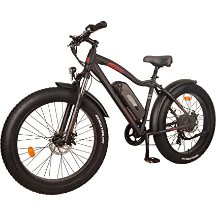 DJ Fat Bike 750W 48V 13Ah Power Electric Bicycle, Matte Black, LED Bike Light, Suspension Fork and Shimano Gear, best fat fire bikes