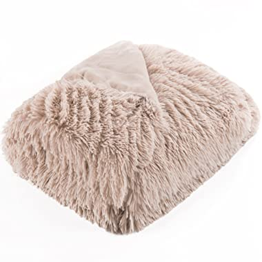 Bedsure Plush Faux Fur Reversible Fleece Bed Throw Fuzzy Nap Blanket –Super Soft Lightweight Throw for Couch Chair Sofa and Bed (50 x60 , Camel)