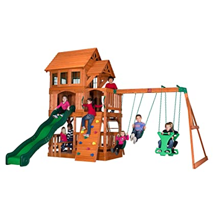 Step2backyard Discovery Edgewood All Cedar Wooden Swing Set Playset Brown