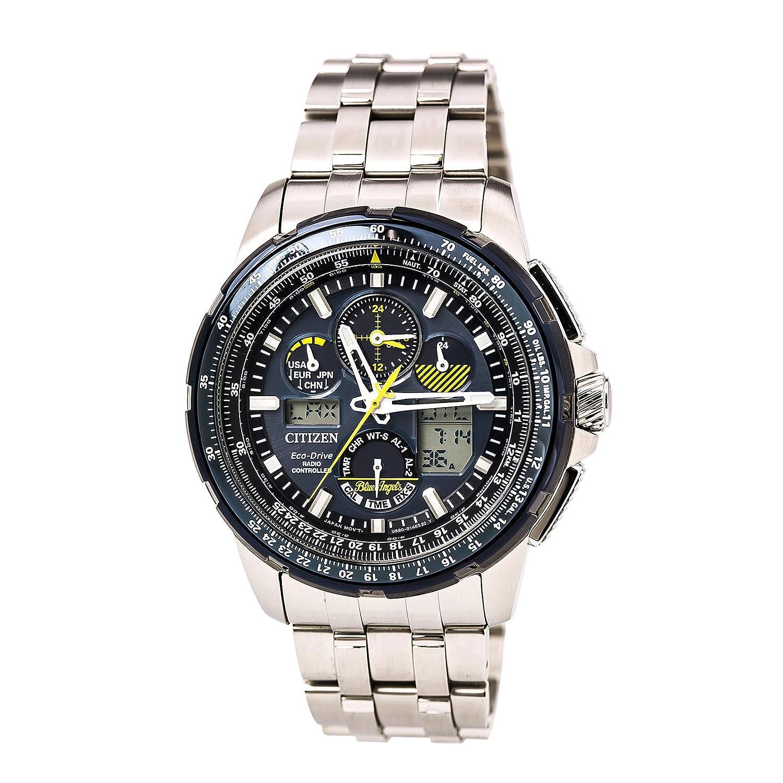 8567f6bc826 Amazon.com  Citizen JY8058-50L Men s Stainless Steel Silver Bracelet Band  Blue Dial Smart Watch  Citizen  Watches