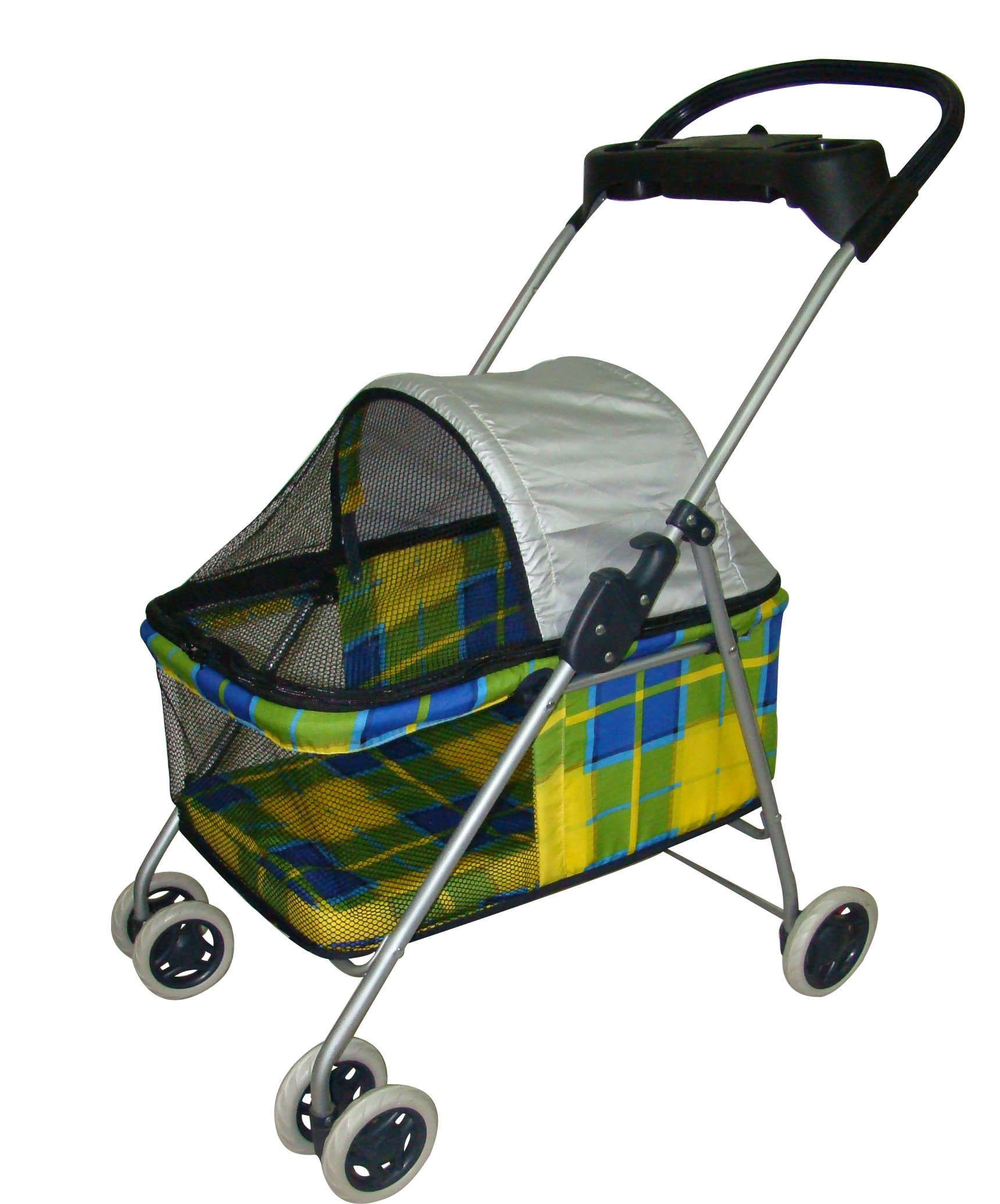 BestPet New Yellow Plaid Posh Pet Stroller Dogs Cats w/Cup Holder
