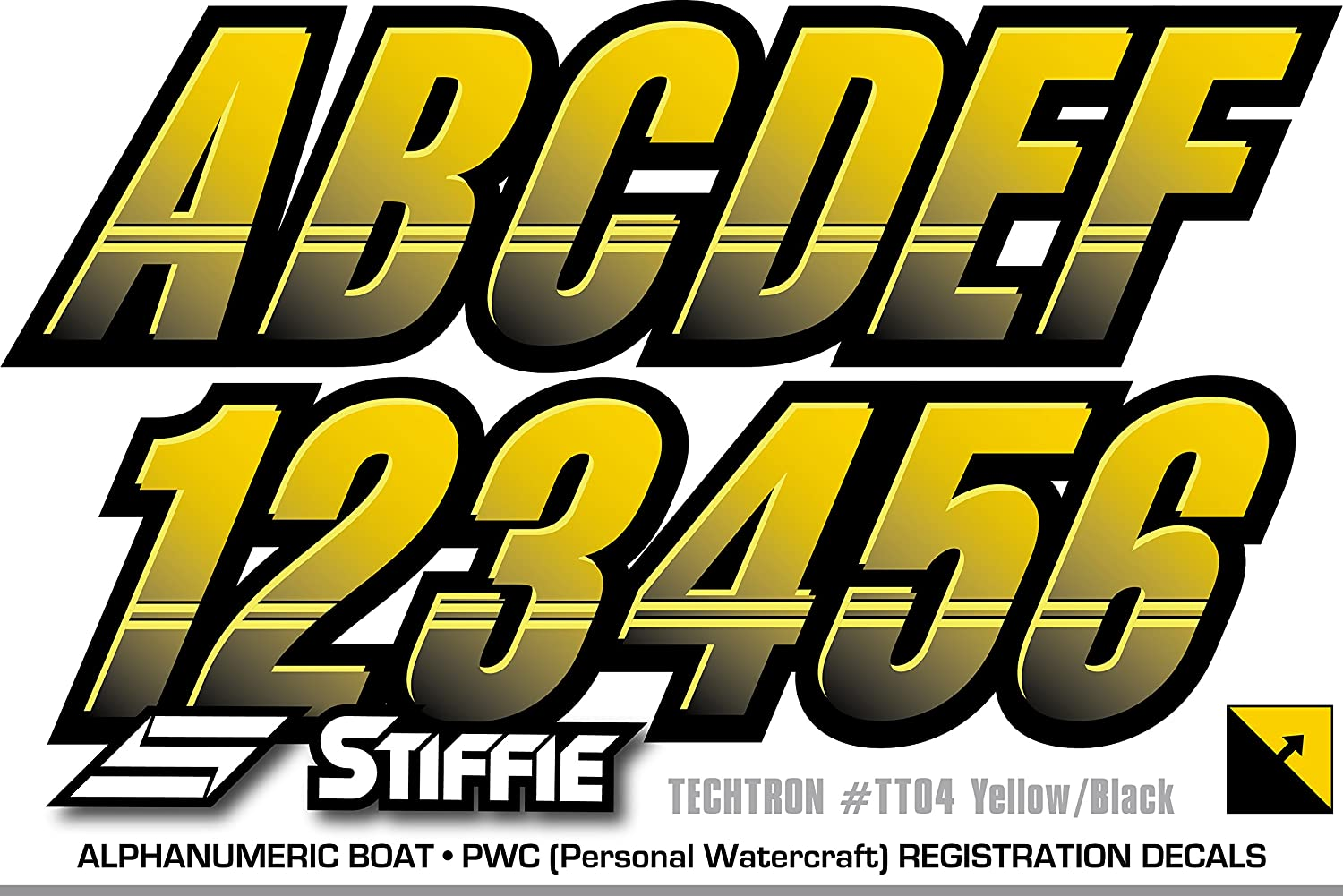 STIFFIE Techtron Red//Purple 3 Alpha-Numeric Registration Identification Numbers Stickers Decals for Boats /& Personal Watercraft .