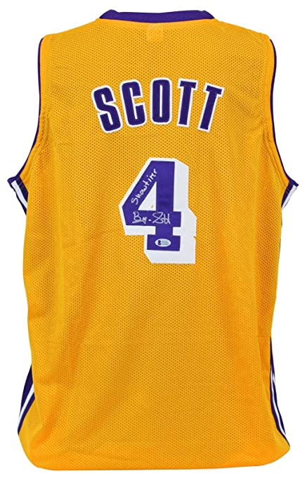 """83785f7a478 Lakers Byron Scott""""Showtime"""" Signed Yellow Jersey BAS Witnessed -  Beckett Authentication - Autographed"""